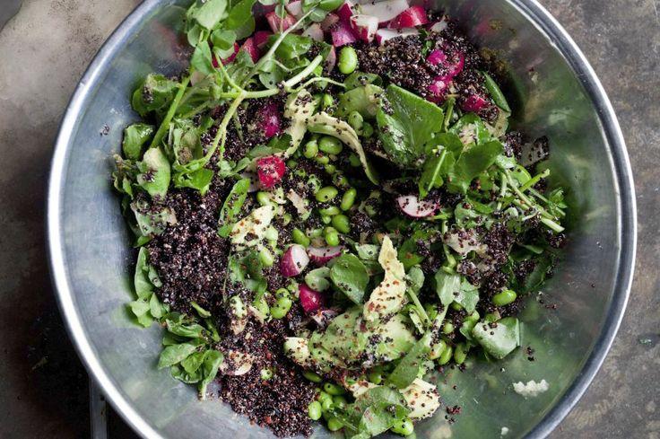 quinoa salad with avocado, lemon, edamame - ottolenghi