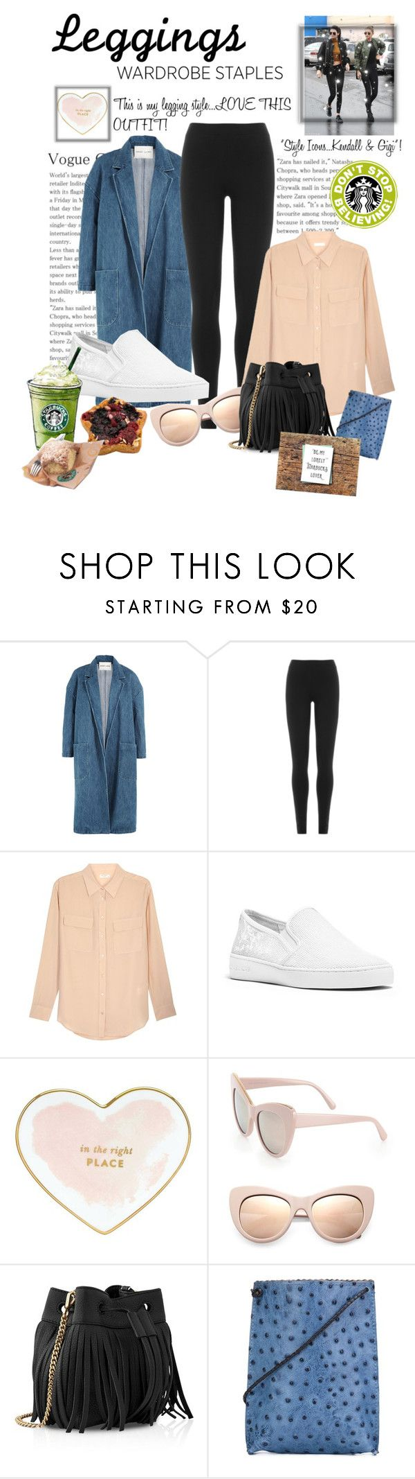 """""""CONTEST...LEGGINGS...This is my favorite  leggings outfit!"""" by onesweetthing ❤ liked on Polyvore featuring Sandy Liang, ASAP, DKNY, Equipment, MICHAEL Michael Kors, Kate Spade, STELLA McCARTNEY, Whistles, B.May and Coffee Shop"""
