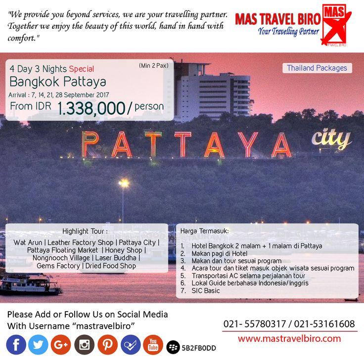 4 Days 3 Night Bangkok Pattaya Special from IDR 1.338.000/orang , Pesan Sekarang Juga ! ;) #mastravelbiro #thailand #tourmurah #bangkok #pattaya