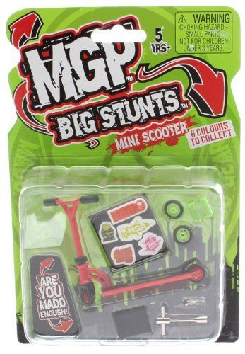 #PopularKidsToys Just Added In New Toys In Store!Read The Full Description & Reviews Here - MADD MGP Big Stunts Mini Finger Scooter - Finger Whip Toy - RED - MADD MGP Big Stunts Mini Finger Scooters We are pleased to announce the newest and smallest addition to the MGP range, the MGP Big Stunts Mini Finger Scooters. Just like Tech Decks for skateboarding and Mini BMX these are pocket sized scooters for table to tricks.   These new finger scooters are available now!  These are