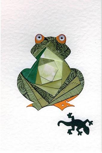 Iris folding frog. Cute , cute, frog.
