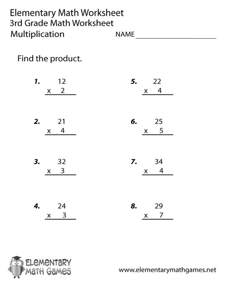 Free Printable 3rd Grade Math Multiplication Worksheets di ...