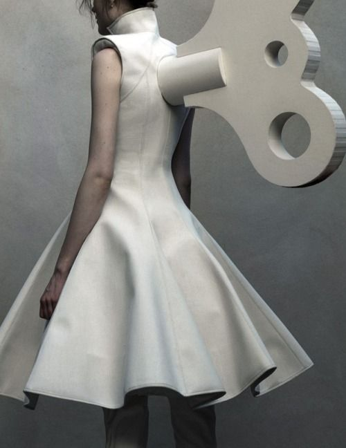 Artistic Fashion - surreal dress with wind-up key detail; conceptual fashion design // Gareth Pugh Fall 2014