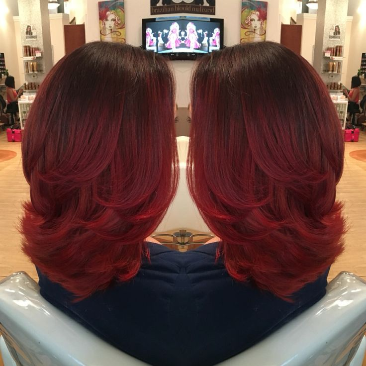 Red velvet ombré hair at Sugar and Spice salon spa #balayage