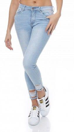 SKUTARI Damen Royal Skinny Stretch Röhren Luxus Jeans Destroyed Denim Look Risse Knie Hoher BundStretch