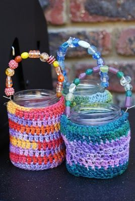 Crochet jar covers I made along with a beaded handle