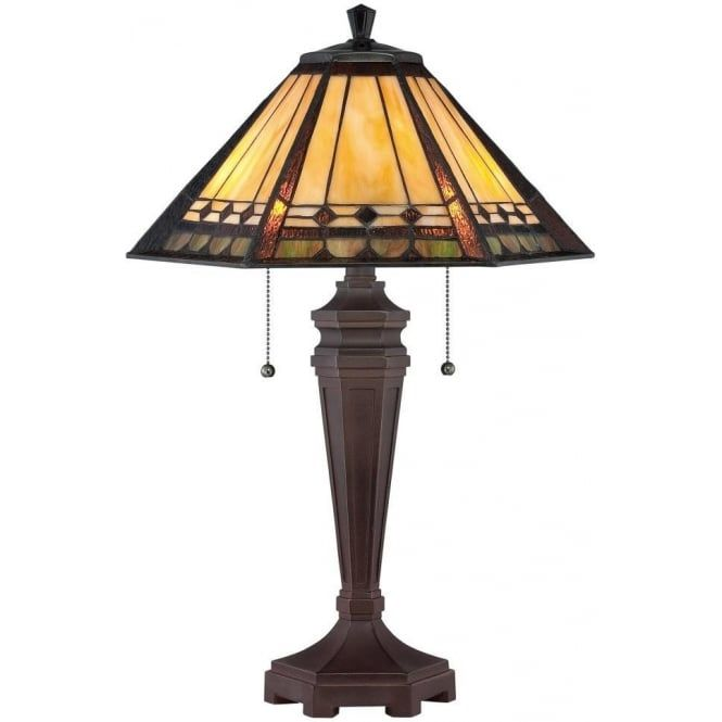 Elstead Lighting Quoizel Arden 2 Light Table Lamp In Bronze Patina Finish And Tiffany Glass Shade - Lighting Type from Castlegate Lights UK