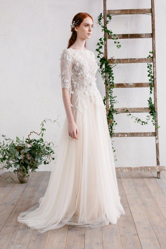 431994dc3a87 A-line Lace Wedding Dress with Train , 3D Lace Gown ,Boho Wedding Dress,  Floaty Champagne Tulle Skirt ,Wedding Lace Top ,Button Back -CAMILA