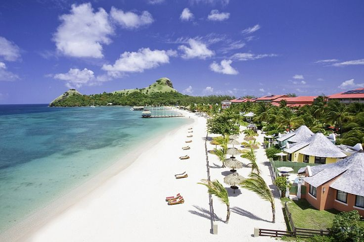 Romantic resort: Sandals Grande St Lucian pictured in all its glory under the golden sun...