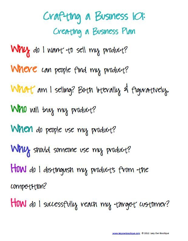 crafting a business: creating a business plan for creative businesses