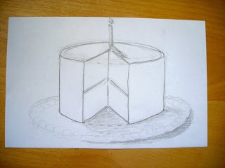 Drawing the Wayne Thiebaud Cake angles with 5th Grade