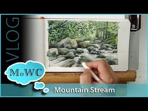 Waldwasserfall. Erweitertes Aquarell-Tutorial – YouTube #rocklandscape