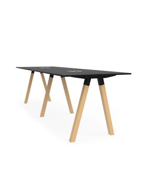 Frankie, Martela | Frankie is a standing height conference table with a stylish A shaped base. The table can be used with chairs, bar stools, or simply standing. Frankie is visually strong, practical, and encourages active meetings in the office. Several units can be placed next to each other to create longer configurations of tables. It can be customised in different heights, sizes and material finishes. | Creating Happy Offices | Sound Proof Acoustic Phone Booths | Framery UK & Office…