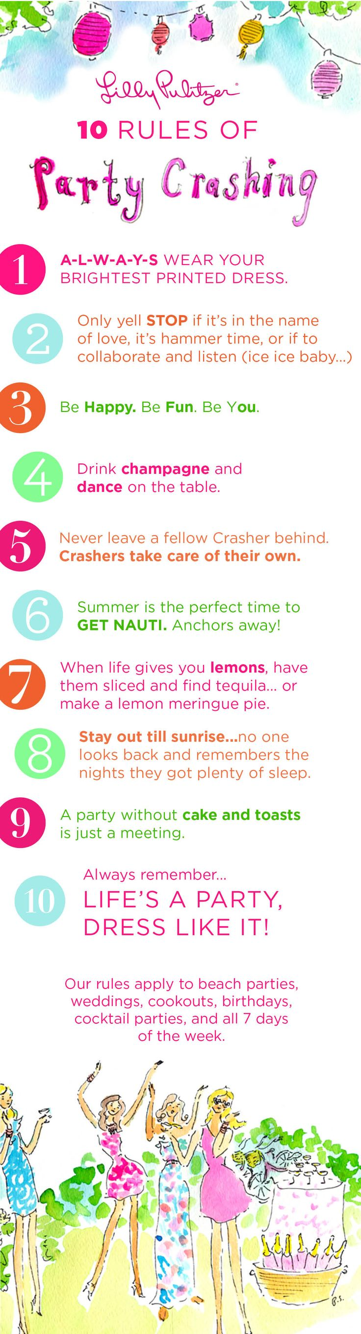 Lilly Pulitzer's 10 Rules of Party Crashing