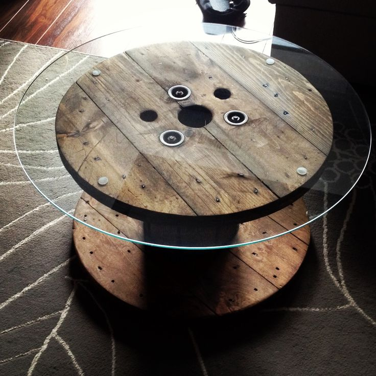 Spool Table with Glass Top.