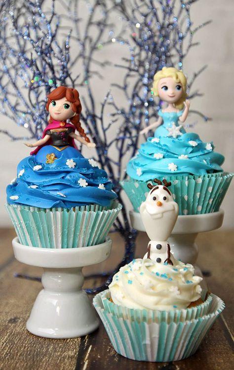 Easy DIY Frozen Cupcake Idea with Elsa Olaf and Anna