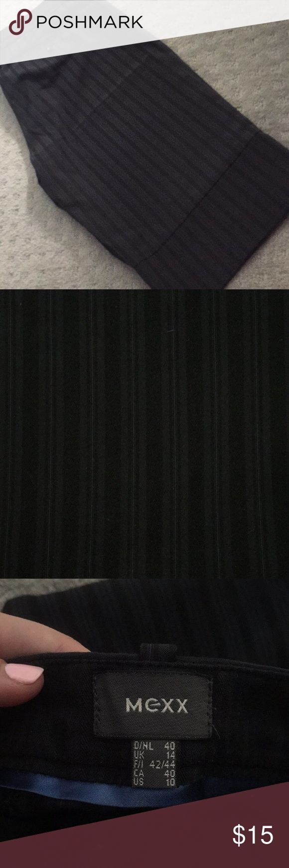 Mexx dress up Capri slacks Dress up slacks. Navy blue stripped w/black. Side and back buttons. Mexx Pants Capris