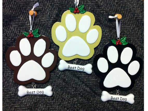 Personalized Christmas Ornament for Dog Black Paw with Best Dog Bone Tag