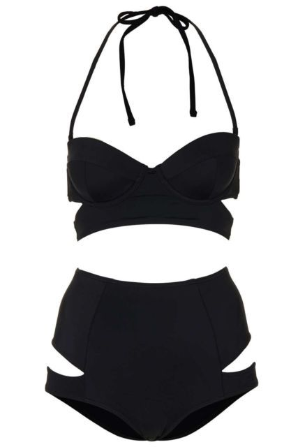 Topshop Black Cut Out High Waisted Bikini 12 BNWT | eBay