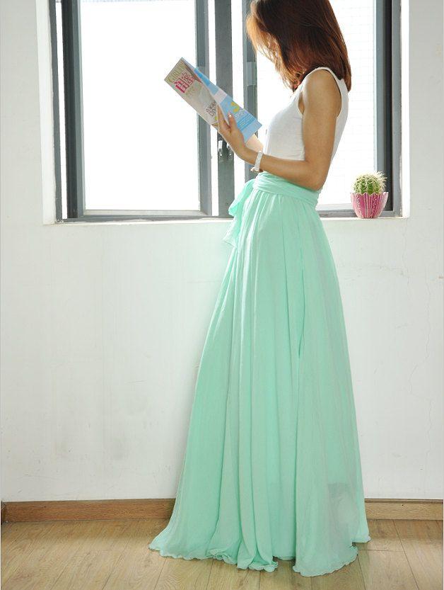 High Waist Maxi Skirt Chiffon Silk Skirts Beautiful Bow Tie Elastic Waist Summer Skirt Floor Length Long Skirt (037) by Dressbeautiful on Etsy
