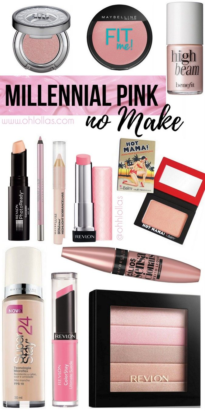 Millennial pink é cor tendência em 2017. Listamos 12 produtos de maquiagem para aderir aos tons de rosa pastel, rose gold e peach orange no make up @ohlollas Millennial Pink eyeshadow glow makeup. Tumblr pink, Scandi pink trend alert 2017 - Base, batom, lipstick, iluminador, blush, gloss, Maybelline, Revlon, Benefit, Urban Decay, Sephora, The Balm.