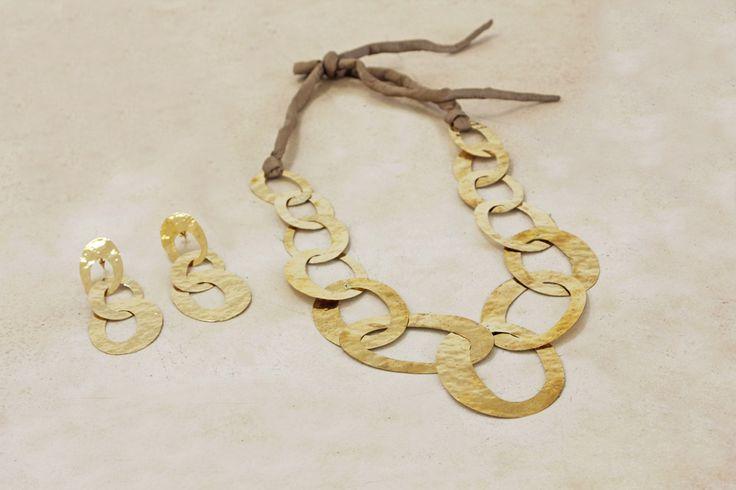 Oval Brass Necklace & matching Oval Brass Earrings