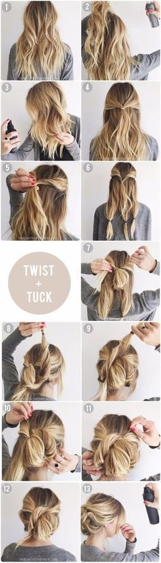 Twist & Tuck Messy Updo   5 Messy Updos for Long Hair, check it out at http://makeuptutorials.com/updos-for-long-hair-makeup-tutorials