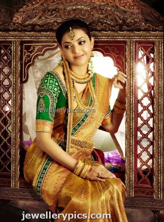 Kajal Agarwal in bridal jewellery silk saree for chennai Silks - Latest Jewellery Designs