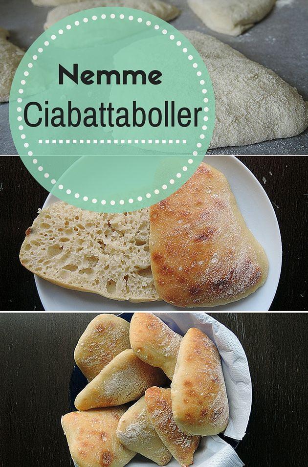 Super nem opskrift på ciabattaboller, der både bliver dejligt luftige og sprøde. (Recipe in Danish)