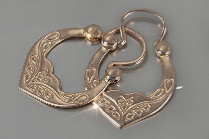 vens321 Org. Russian rose Soviet gold Amazing HANDCRAFT Vintage earrings Rare!