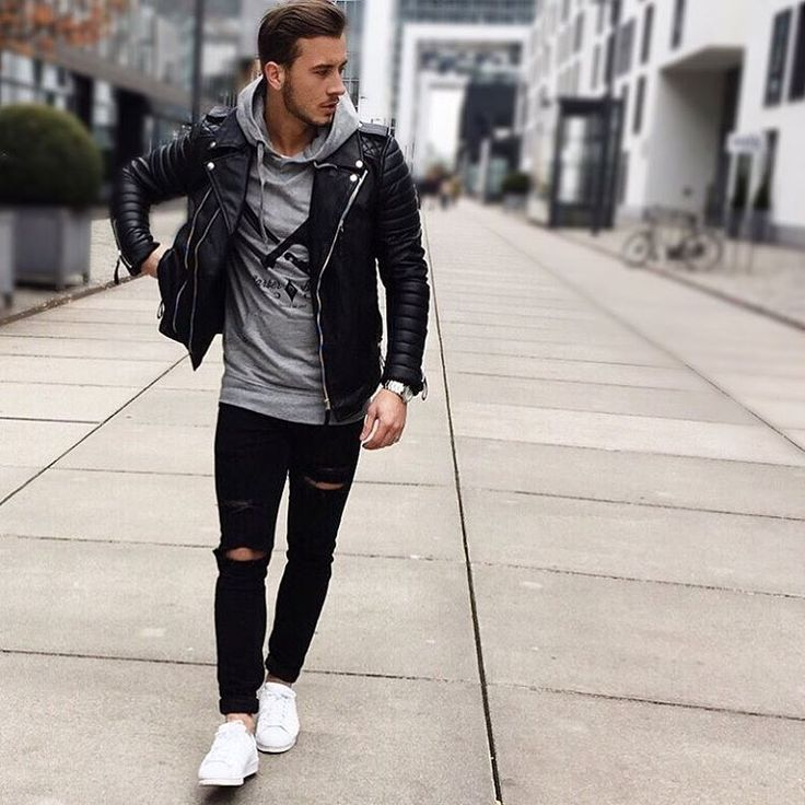 """""""Today.  Biker by @obsessedclothing  Hoodie by @distortedpeople  Jeans by @asos…"""