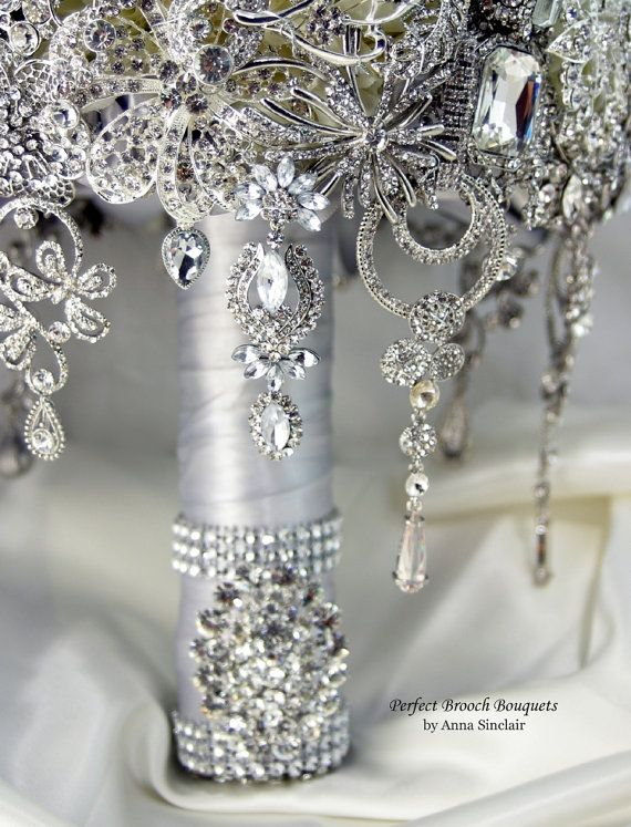 Diamond Brooch Bouquet  DEPOSIT on a Made to Order by annasinclair, $600.00