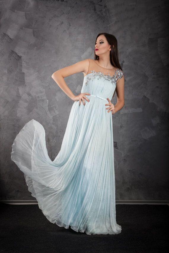 Silk aqua wedding gown pleated dress and silver sequins application/ Wedding dress/ Bohemian wedding dress/ Beach wedding dress