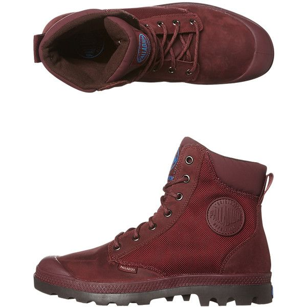 Palladium Pampa Sport Cuff Wp2 Womens Boot ($105) ❤ liked on Polyvore featuring shoes, boots, footwear, red, womens footwear, woven shoes, sport boots, palladium shoes, waterproof footwear and cushioned shoes