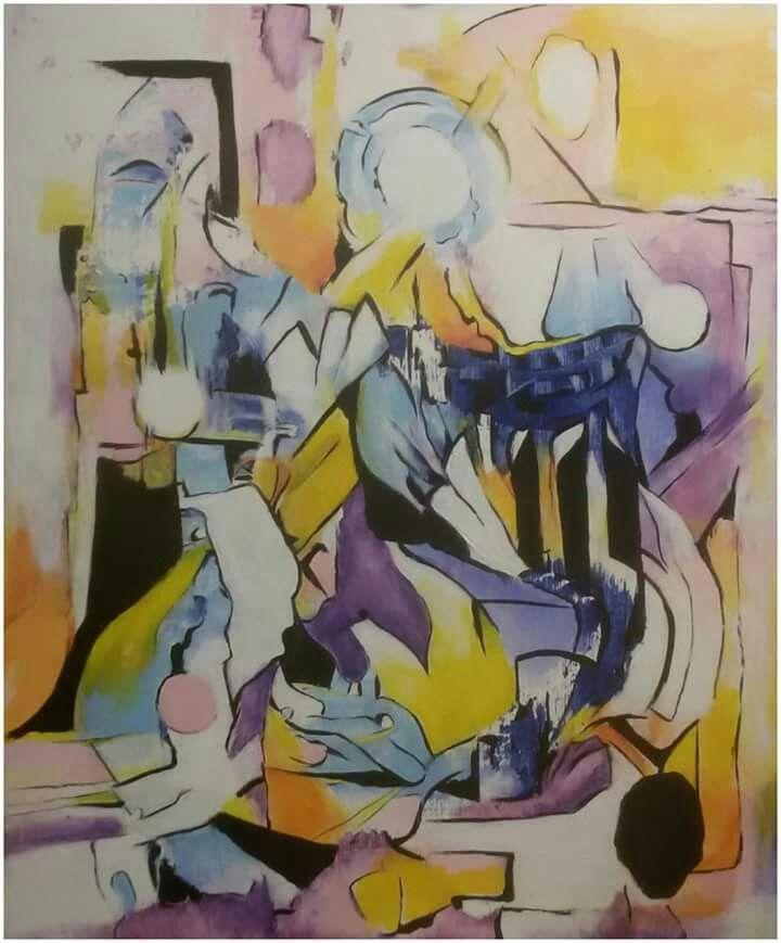 """""""Anděl ve dveřích"""" akryl na sololitu, 47x57 cm."""