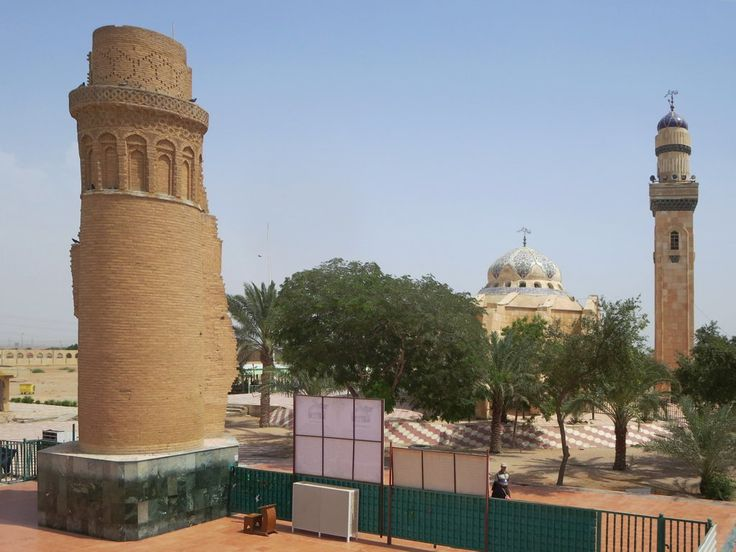 The Imam Ali ibn Talib Mosque on the outskirts of Basra, Iraq, was the first to be built in Iraq following the Arab conquest in 636. Only part of the minaret remains from the original mosque.