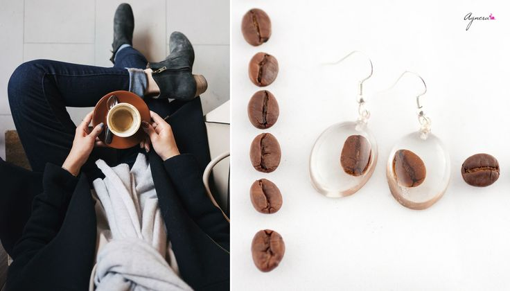 Monday should be met with strong coffee and coffee earrings – for productive week start! #agnera #monday #coffee #earring #strong #brown #energy