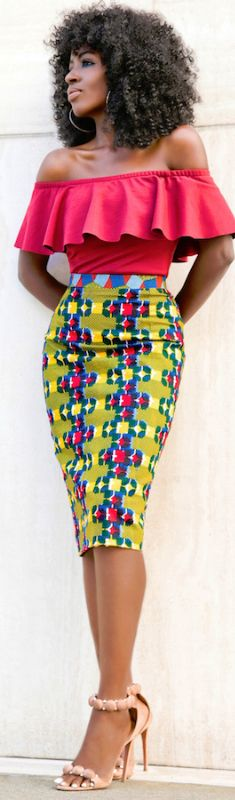 ♡African Print in Fashin Off Shoulder Frill Top + African Print Pencil Skirt Fashion Look by Style Pantry