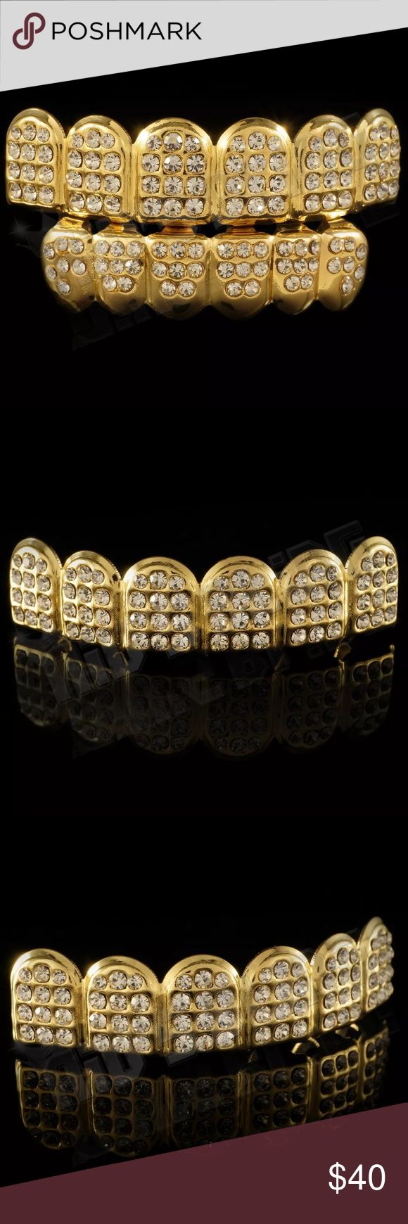 ICED OUT Grillz Set Top Bottom Teeth Men Women NEW BRAND NEW - SHINY ICED OUT GRILL SET - Total of 118 Clear Simulated Diamonds, Professionally Set by hand.  Top and bottom mouthpieces made from a brass core with premium gold plating. One size fits all, come individually packaged, with a reusable silicone molding bars and instructions for easy fitting and adjusting without messy molds. Our grillz are lead and nickel free, FDA approved and safe to wear inside your mouth. You get the same look…
