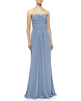 Strapless Draped Ruched Bodice Gown French Blue By
