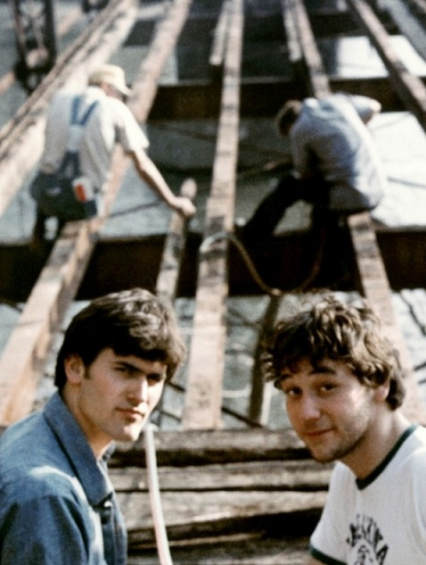 Bruce Campbell & Sam Raimi, On the set of The Evil Dead (1981).