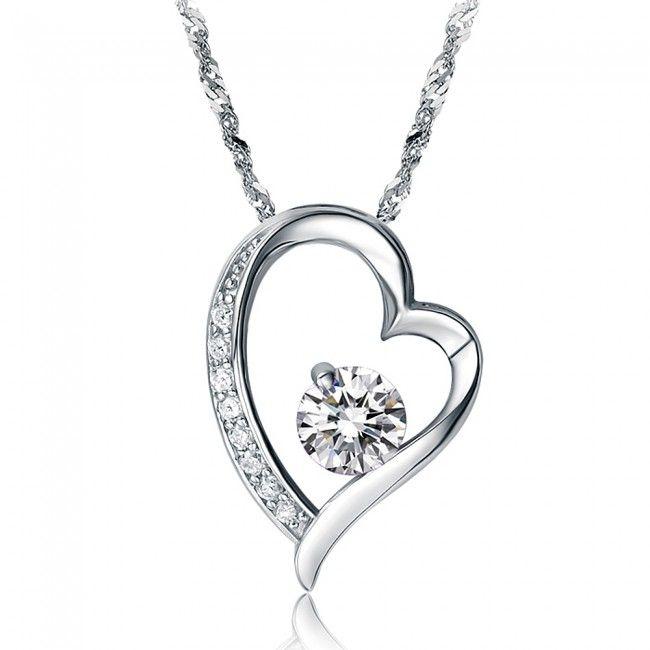 18K White Gold Platinum Plated Cubic Zirconia Pendant Necklace for Women TCDN2250 #Jewelry #WomensJewelry