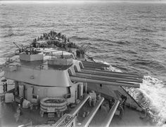 HMS Rodney 16in gun turrets during World War II. Note the 20 mm AA guns installed atop Turret B.