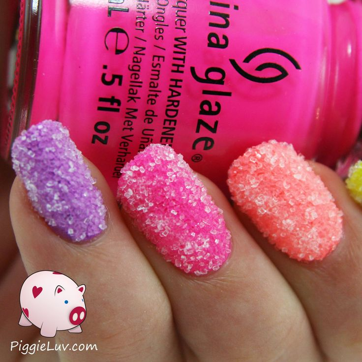 Springtime makes me feel funny so I made sugar crush nails! I just dipped my wet nails in sugar and now they look like candy. It's so much fun to do!