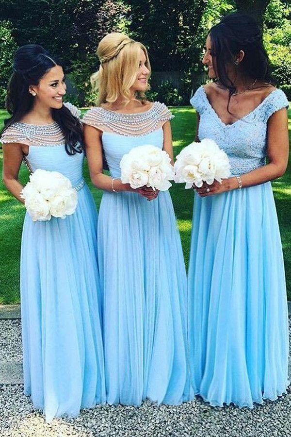 5d8d4bcedb Country Wedding Mismatched Beaded Bodice Chiffon Aqua Blue ...
