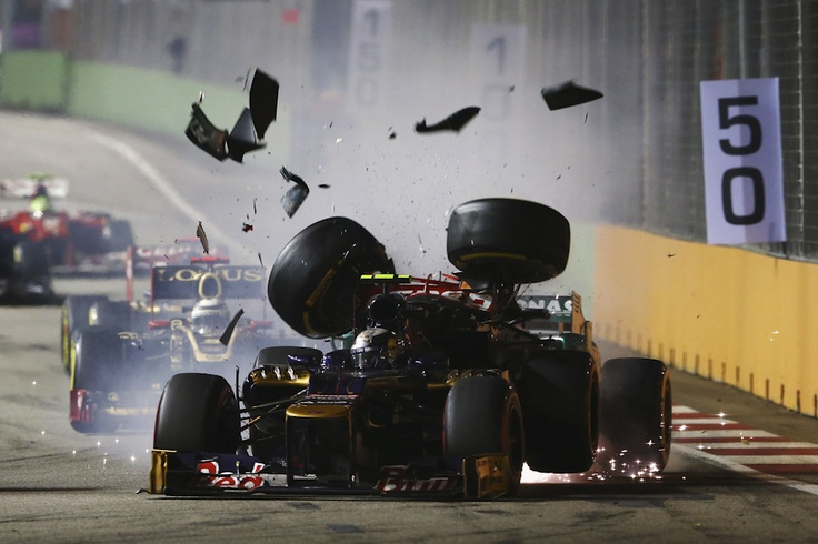 Mercedes GP driver Michael Schumacher crashed into the back of Scuderia Toro Rosso driver Jean-Eric Vergne during the Singapore Formula One Grand Prix Sept. 23 in Singapore. Robert Cianflone/Getty Images