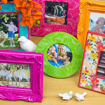 Color Your World - Introduce a dash of color into every room with vibrant picture frames. It's easy to find ones to suit any space, and decorating with them is a breeze. Group three flowery frames on a bathroom counter, four citrusy ones in the breakfast nook, and two big turquoise frames on the mantel.
