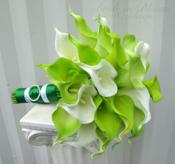 Lime green real touch calla lily Wedding bouquet emerald bouquet