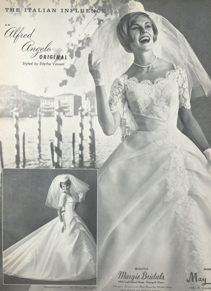 An Italian Influence By Alfred Angelo Spring 1963 Vintage Designer Fashion Bride Ad