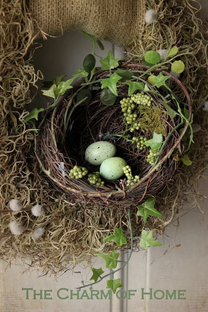 Decorate with nests; Love this!! I have nests in my Christmas tree, but might use them more often for decor